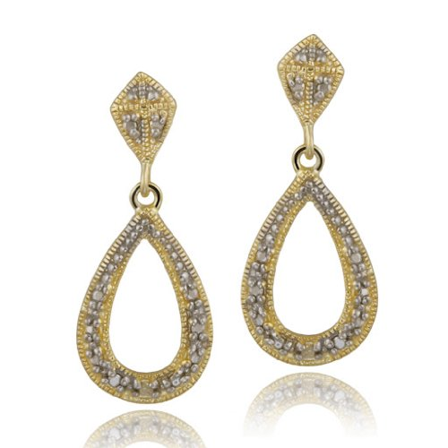 18K Gold over Sterling Silver Diamond Accent Open Teardrop Dangle Earrings