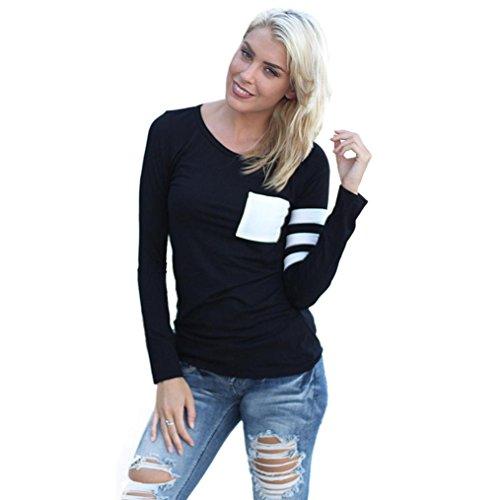 Fortan Womens girocollo manica lunga camicia Spliced camicetta supera maglietta (Small, Nero)