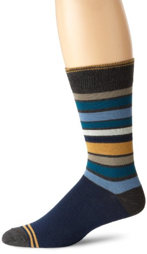 Pact Mens San Francisco Blue Stripe Crew Sock