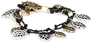 """Lucky Brand """"Item Bracelet"""" Silver-Tone and Gold-Tone Openwork Leather Bracelet"""
