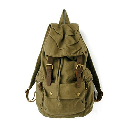 S.C.Cotton Canvas Leather Backpack Rucksack Satchel Bookbag Hiking Bag – Army Green