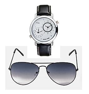 VESPL Black Beauty Combo of Stylish aviator Sunglass and Dual Time Maestro Watch