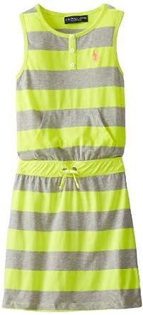 US Polo Association Big Girls' Stripe Tank Dress, Yellow, 7/8