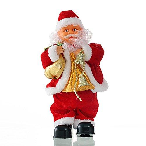 Delmkin-Weihnachtsmann-Dekoration-35cm-Singender-Weihnachtsmann-Deko-Figur