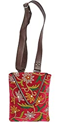 Exotic India Raspberry-Wine Shoulder Bag from Kashmir with Floral Embroid - Pink
