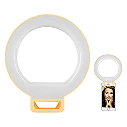 Luxsure LED Selfie Ring Light Supplementary Lighting Night Darkness Selfie Enhancing Photography for iPhone Samsung HTC Nokia iPad and Other Smartphones, Tablets (Yellow)