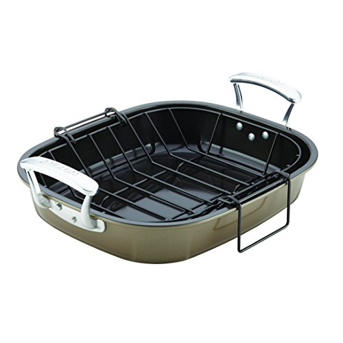 Anolon Nonstick Bakeware Roaster with Hanging U-Rack, 16 x 13-1/2