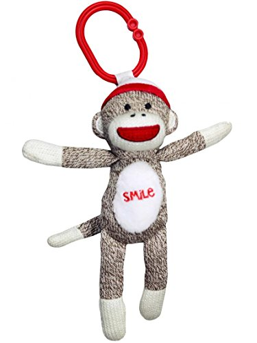8-Plush-SMILE-Sock-Monkey-Rattle-with-Pull-Vibration-Stroller-Hook