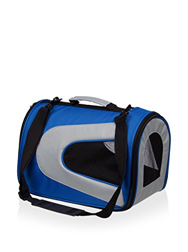 Pet Life Airline Approved Sporty Zippered Mesh Pet Carrier Blue/grey