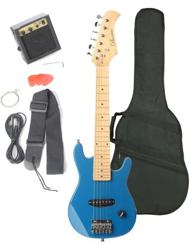 Barcelona Kid Series Electric Guitar with 5-Watt Amp, Gig Bag, Strap, Cable, Strings, Picks, and Wrench - Metallic Blue