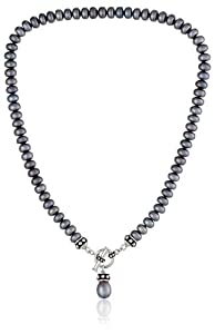 """Honora Pallini Black Freshwater Cultured Pearl Drop Charm Toggle Necklace, 17"""""""