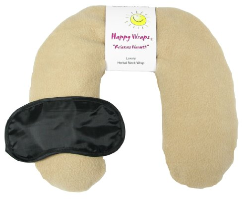 Happy Wraps® Unscented Flax Seed Neck Wrap W/Free Sleep Mask - Microwave Or Freeze - Camel Fleece