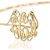 10k Gold Monogram Necklace Personalized Name Necklace Initial Necklace