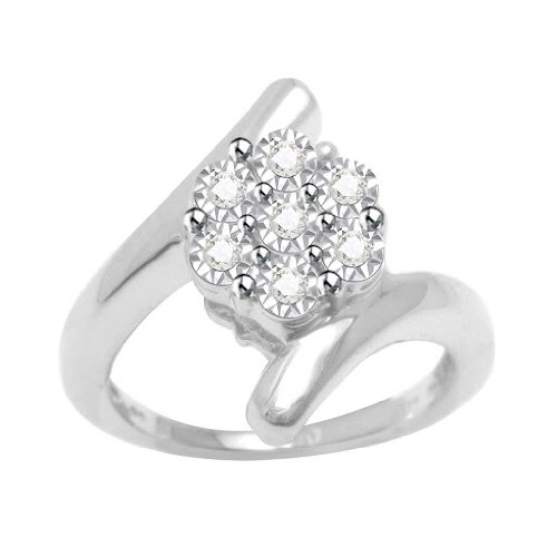 Platinum Plated Sterling Silver Diamond Bypass Flower Promise Ring