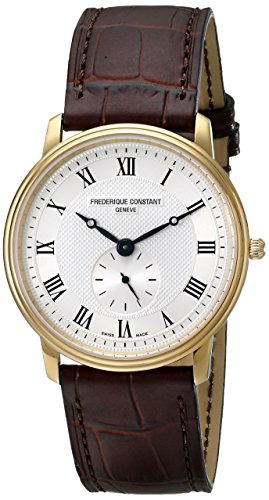 프레드릭 콘스탄트 맨즈 235M4S5 시계 Frederique Constant Mens 235M4S5 Slim Line Analog Swiss Quartz Brown Watch, Brown/Silver