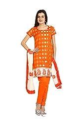 Parchayee Women's Orange Jacquard Art Silk Dress Material
