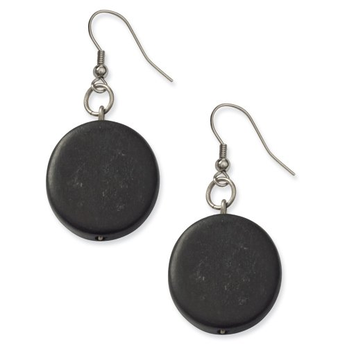 Silver-Tone Black Natural Wood 2in Flat Dangle Earrings