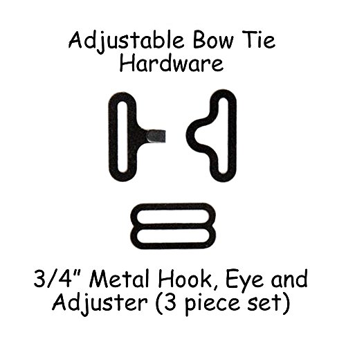 "Read About Adjustable Bow Tie Hardware Clips - 3/4"" Black Metal - 10 Sets"
