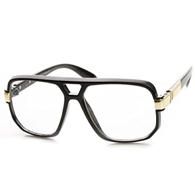 zeroUV - Classic Square Frame Plastic Clear Lens Aviator Glasses