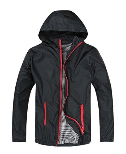 Geval Men's Lightweight Waterproof Windbreaker Spring Slim Fit Jackets(Black,XXS)