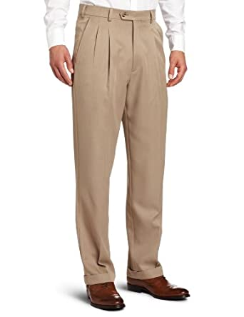 Geoffrey Beene Men's Perfect All Performance Comfort Waist Pleated Dress Pant, Tan, 40x30