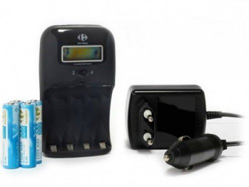 Chargeur Rapide 1h/2h Ecran LCD + 4 Piles AA Rechargeables 1.2V NI-MH 2300mAh Carrefour Uniross