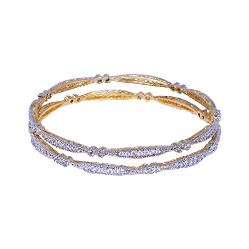 Gehna Pair Of Bangles Made In Yellow Gold Polished Metal Studded With American Diamond