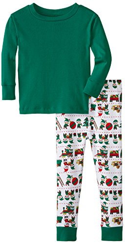 New Jammies Little Boys' Organic Snuggly Pajamas Santa's Elves Solid Top