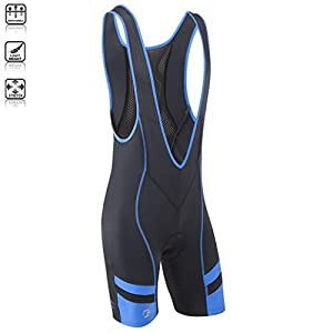 Tenn Mens Coolflo Bib Front Cycling Shorts with Moulded Pad - Black/Blue M