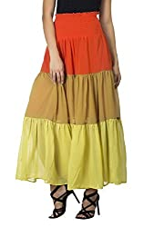 MansiCollections Women's Georgette Skirt (MC_SK_2103_MU, Multi-Coloured, Large)
