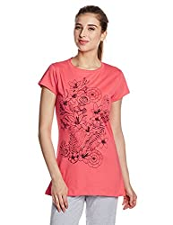 Lovable Women's Cotton Pyjama Top (CrewNeck_Coral Pink_Large)