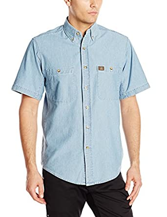 RIGGS WORKWEAR by Wrangler Men's Chambray Work Shirt,Light Blue,Medium