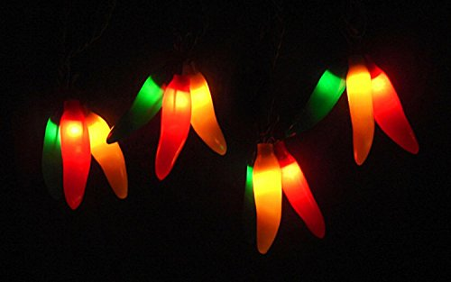 Set of 36 Red, Yellow & Green Chili Pepper Cluster Christmas Lights - Brown Wire (Chili Pepper Strings compare prices)