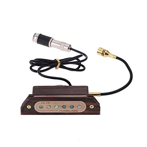 """Andoer Handwerk Rosen Holz Magnetischer SchallochTonabnehmer Humbucker Amplifier MessumformerEinstellbarerLautstärke 6.3mm Buchse mit Mikrofon für 39""""/ 40"""" / 41"""" / 42"""" Akustische Gitarre"""