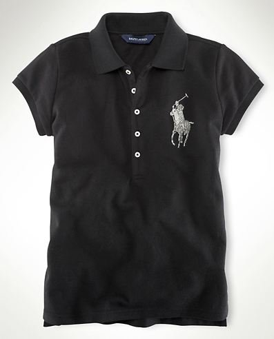 Ralph Lauren Sparkling Beaded Big Pony Polo Girls Shirt Collection Black S 7