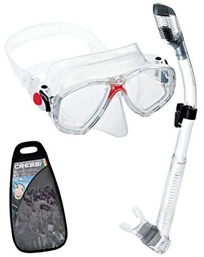 Cressi Marea and Dry Snorkel Combo Set with Carry Bag,