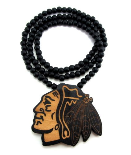 Large Wooden Chicago Blackhawks Pendant Bead Chain Necklace Two-Toned