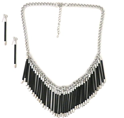 Silver Tone Black Fringe Modern Necklace Earring Set For Women