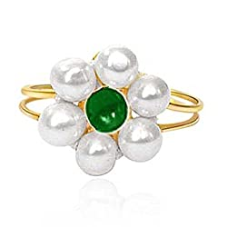 Surat Diamonds Real Freshawater Pearl & Green Stone adjustable Ring for Women (Ring-6)