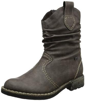 Rieker 74684-45, Damen Halbschaft Cowboystiefel, Grau (stromboli / 45), 36 EU (3.5 Damen UK)