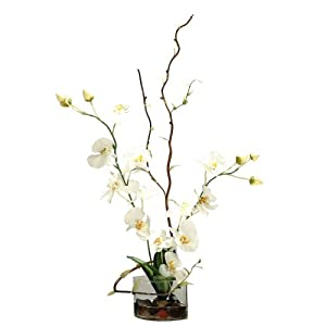 Vickerman AZF10022 Orchid in Acrylic Water Artificial Plant, White/Pink/Green, 38-Inch at Sears.com
