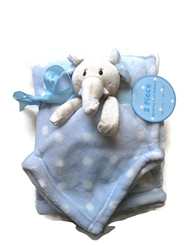 Elephant Security Baby Plush and Blue White Polka Dots Blanket - 1