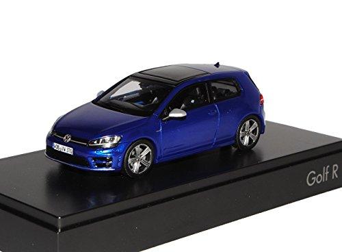 VW-Volkswagen-Golf-VII-7-R-3-Trer-Lapiz-Blau-Ab-2012-143-Spark-Modell-Auto-mit-individiuellem-Wunschkennzeichen