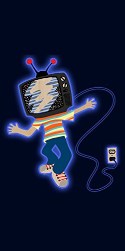 """""""Tv Boy"""" Funny Walking W/ Television Head - Plywood Wood Print Poster Wall Art front-464488"""