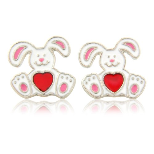Rabbit stud earrings with pick heart - matching necklace and adjustable ring available