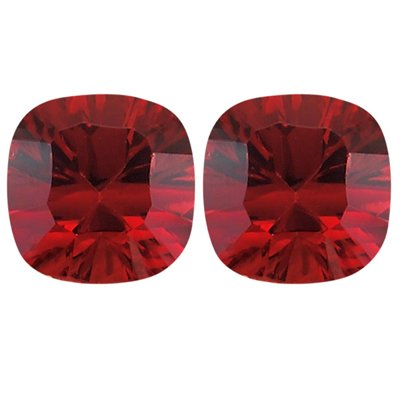2.84 Cts of 6x6 mm Cushion Concave Matching Loose Garnet (2 pcs set) Gemstones