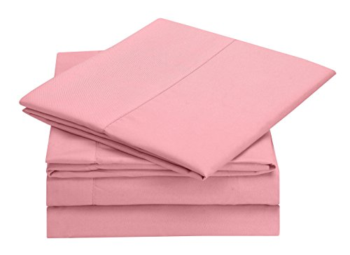 Bed Sheet Set, Full Size - Pink (Flashy) By Clara Clark, 4 Piece Bed Sheets 100% Soft Brushed Microfiber, With Deep Pocket Fitted Sheet, 1800 Luxury Bedding Collection, Hypoallergenic, (Pink Sheets compare prices)