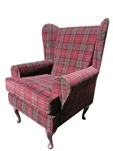 Superb red tartan Queen anne design wing back fireside high back chair. Ideal bedroom or living room furniture.