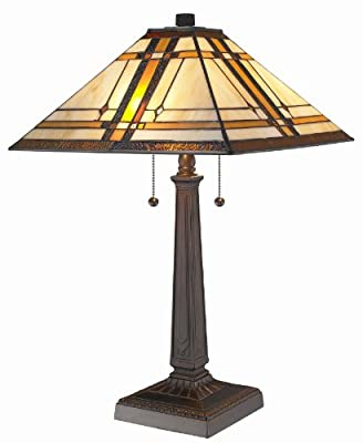 Amora Lighting AM1053TL14 Tiffany Style Mission Design Table Lamp