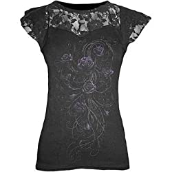 Spiral - Womens - ENTWINED - Lace Layered Cap Sleeve Top Black - M